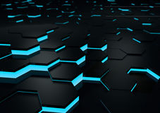 Futuristic Black Reflective Surface Abstract 3d Render. With hexagonal shapes Stock Images