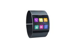 Futuristic black wrist watch with app menu Stock Photography