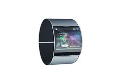 Futuristic black wrist watch with interface Stock Photos