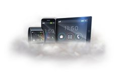 Futuristic black wrist watch with tablet and smartphone on cloud Royalty Free Stock Photos