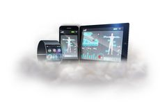 Futuristic black wrist watch with tablet and smartphone on cloud Royalty Free Stock Image