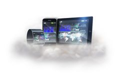 Futuristic black wrist watch with tablet and smartphone on cloud Stock Image