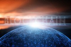 Futuristic blockchain word on abstract cyberspace network Royalty Free Stock Images