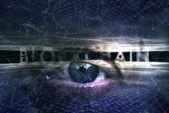 Blockchain cyberspace observe with human eye Stock Photos