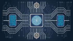 Futuristic blue abstract background. Biometric control and personality confirmation. Scheme of control of fingerprints. stock illustration