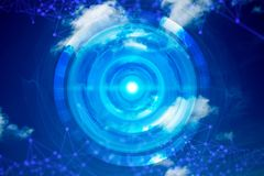 Futuristic blue ai cloud storage digital technology internet network background. 3d illustration royalty free illustration