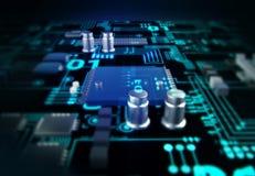 Futuristic blue circuit board background illustration Stock Images