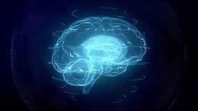Futuristic blue digital brain. Neurons firing in MRI scan