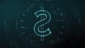 Futuristic blue digital US dollar seamless loop. Worldwide currency concept