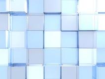 Futuristic Blue Glass Shiny Cubes Background. 3d Render Illustration Stock Photo