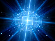 Futuristic blue glowing artificial intelligence with particles Royalty Free Stock Images