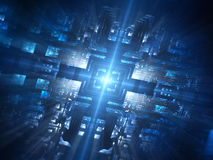 Futuristic blue glowing hardware network Stock Photography