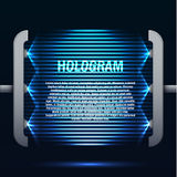 Futuristic blue glowing hologram background. Illustartion of futuristic blue glowing hologram background with place for text Royalty Free Stock Photo