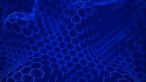Futuristic blue hexagon background. Futuristic honeycomb concept. Wave of particles. 3D rendering. Data technology background stock illustration