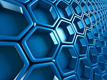 Futuristic Blue Hexagon Pattern Glossy Background Stock Photos