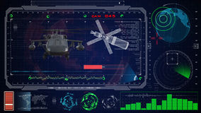Futuristic blue virtual graphic touch user interface HUD. Military army helicopter black hawk Stock Images