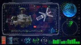 Futuristic blue virtual graphic touch user interface HUD. Military army helicopter raptor Royalty Free Stock Photography