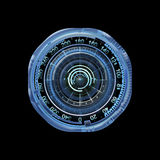 Futuristic blue virtual graphic touch user Interface HUD over black royalty free stock image