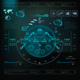 Futuristic blue virtual graphic touch user interface, Music interface, tracks, volume controls Stock Photography