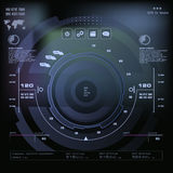Futuristic blue virtual graphic touch user interface, Music interface, tracks, volume controls Stock Images