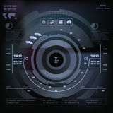 Futuristic blue virtual graphic touch user interface, Music interface, tracks, volume controls Stock Image