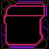 Futuristic Border. A geometric border on black with blocks of neon pink, yellow and purple Royalty Free Stock Photography