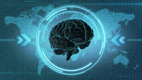 Futuristic brain HUD display Stock Photos
