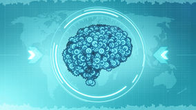 Futuristic brain steampunk concept in HUD display. Mechanical cogwheel brain - blue glowing digital Earth Stock Images