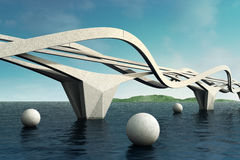 Futuristic bridge. Stock Photos