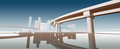 Futuristic bridge. Reflected in the water. 3d render Stock Image