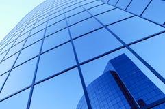 Futuristic building. Abstract blue futuristic corporate buildings stock photo