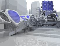 Futuristic Building. 3D modeled futuristic building and rendered Stock Photography