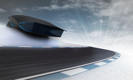 Futuristic building above speed racetrack outdoors wit sky wallpaper Stock Image