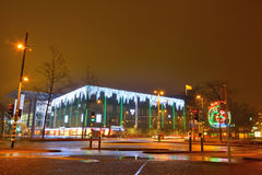 Futuristic building with amazing Christmas lights Stock Photography