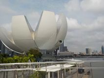 The futuristic building of the ArtScience Museum, Singapore royalty free stock photography