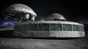 Futuristic building, base on the moon. space expedition. Realistic 3d animation.
