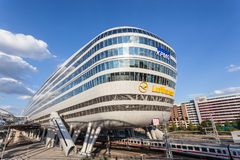 Futuristic building at the Frankfurt Airport Royalty Free Stock Photos