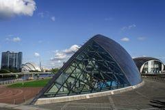Futuristic building of imax cinema Royalty Free Stock Image