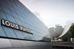 The futuristic building of Louis Vuitton extends out into Marina Royalty Free Stock Photos