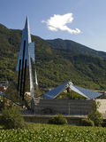 Futuristic building in nature. Futuristic building in the fantastic surroundings of Escaldes (Andorra Stock Images