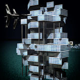 Futuristic building at night 3d rendering Royalty Free Stock Images