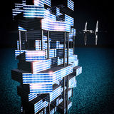 Futuristic building at night 3d rendering Royalty Free Stock Photos