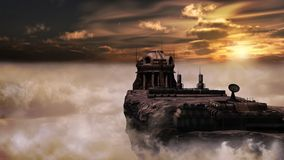Futuristic building over the clouds Royalty Free Stock Photos
