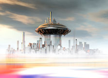 A futuristic building on a planet surface Royalty Free Stock Image