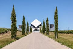 Futuristic building of a winery office. HUESCA, SPAIN - MAY 26: Futuristic office building of the Sommos Bodega winery in Spain. May 26, 2015 in Huesca, Spain Royalty Free Stock Photos