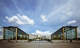 Futuristic buildings. Two symmetric modern glass buildings Stock Image