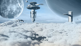 Futuristic buildings on another planet Stock Photo