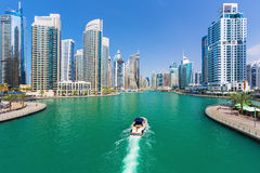 Futuristic buildings in luxury Dubai Marina,United Arab Emirates Stock Photo