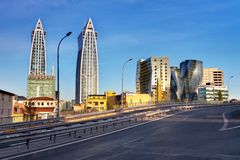 Futuristic buildings. Modern futuristic buildings in Istanbul Royalty Free Stock Images
