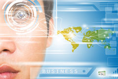 Futuristic Business. Man Face With High Technology For Business Solution Concept Royalty Free Stock Image